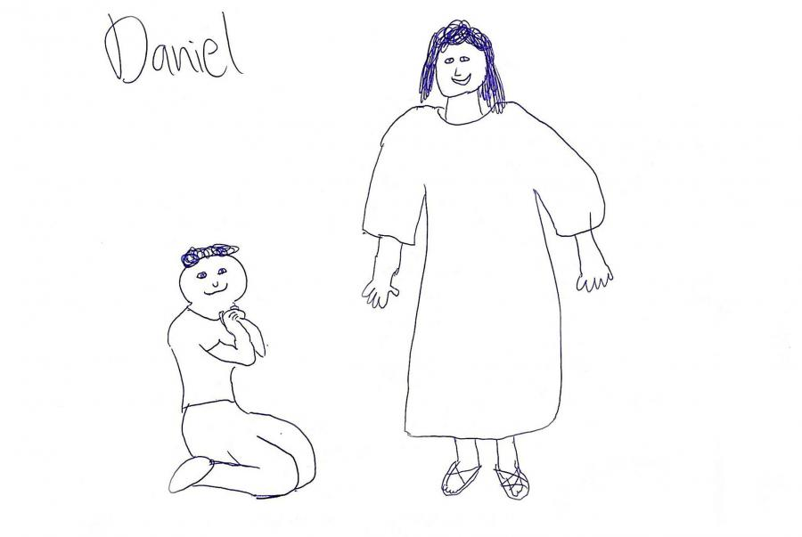 Drawing of person kneeling to Jesus