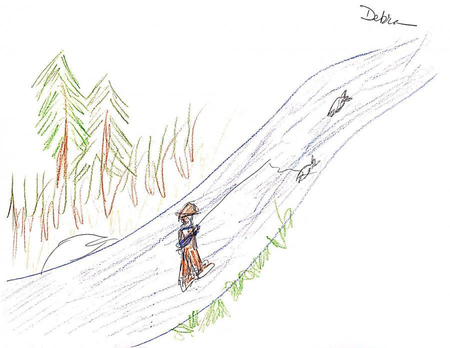 Drawing of woman flyfishing