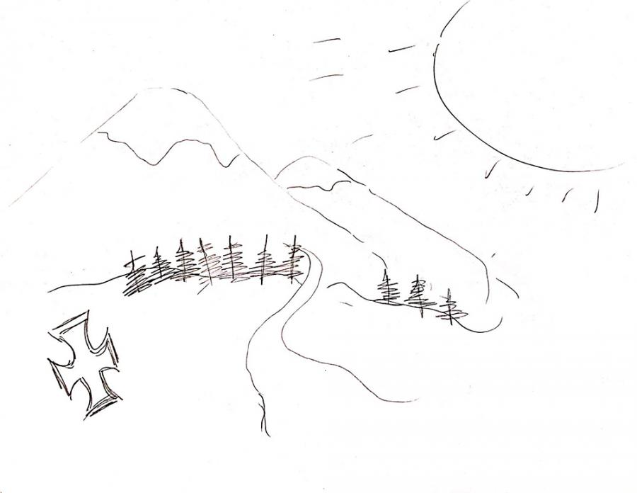 Drawing of mountains, sun, and cross