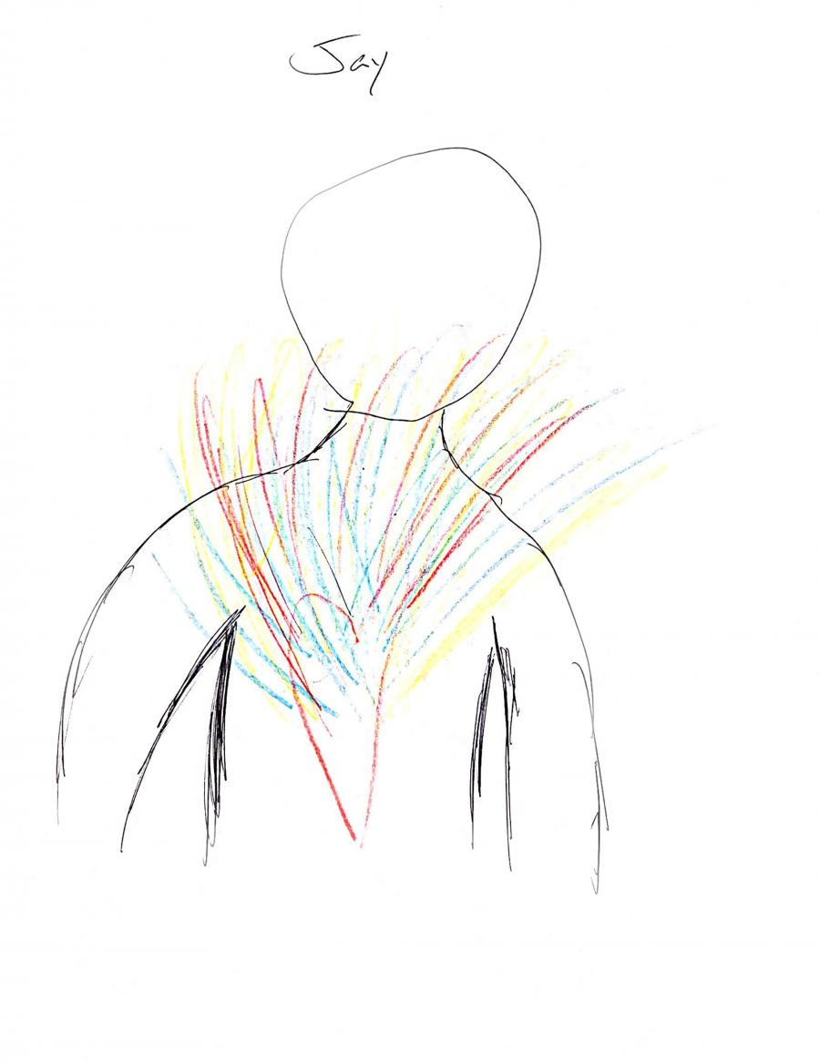 Drawing of person with colors coming from heart