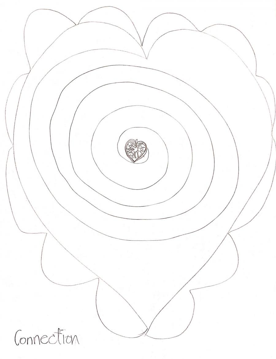 Drawing of heart with spiral