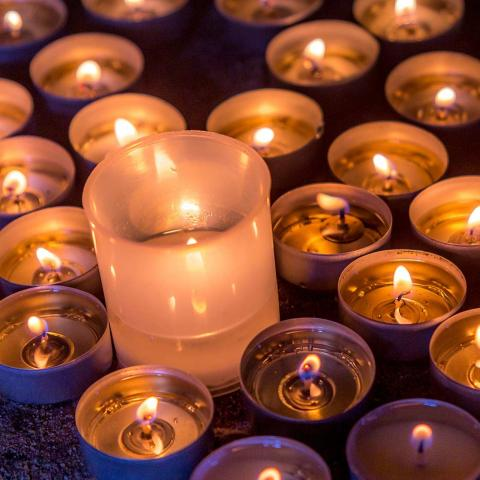 Grouping of beautiful candles